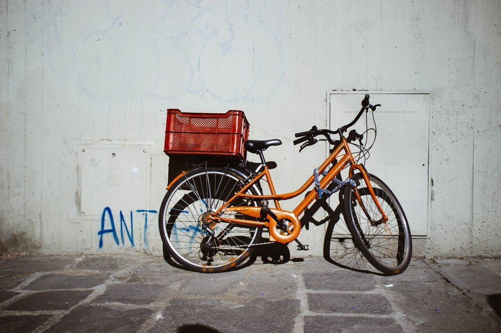 Parked bike.