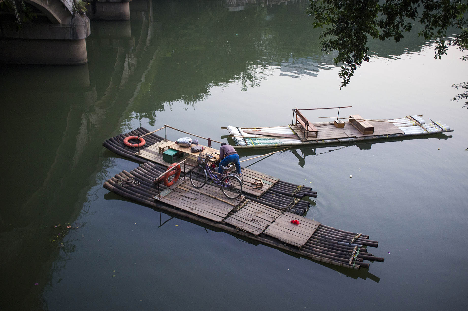 These bamboo rafts are shaped like a ski, the curvy edges allow them to glide effortlessly across the water.