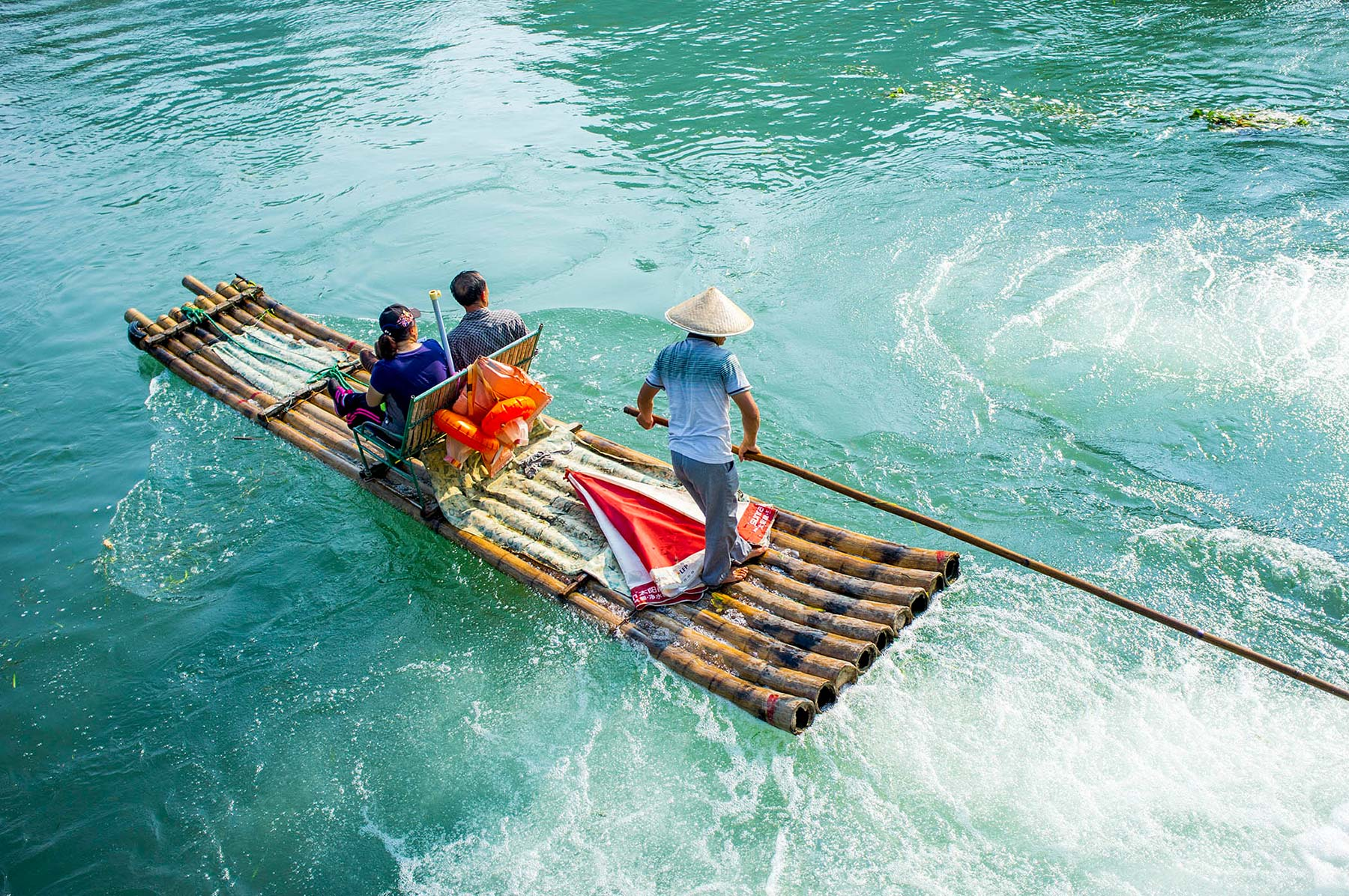 Well known bamboo boat ride.