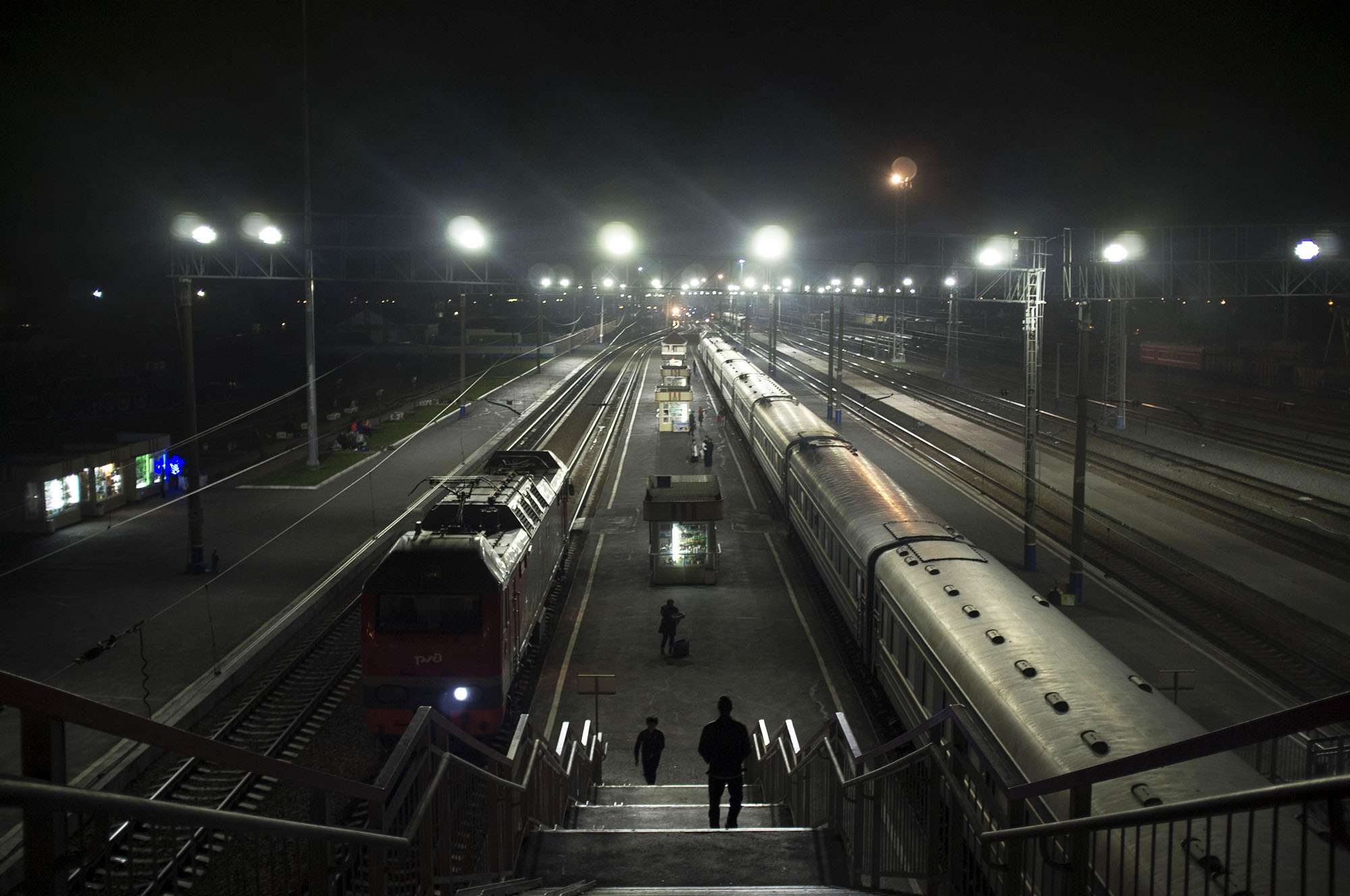 Russian platforms at night.