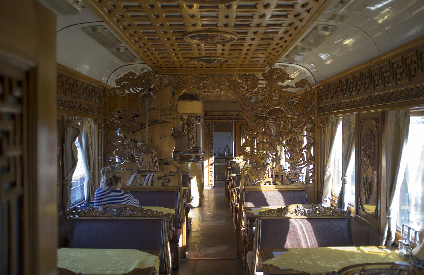 Mongolian restaurant car.