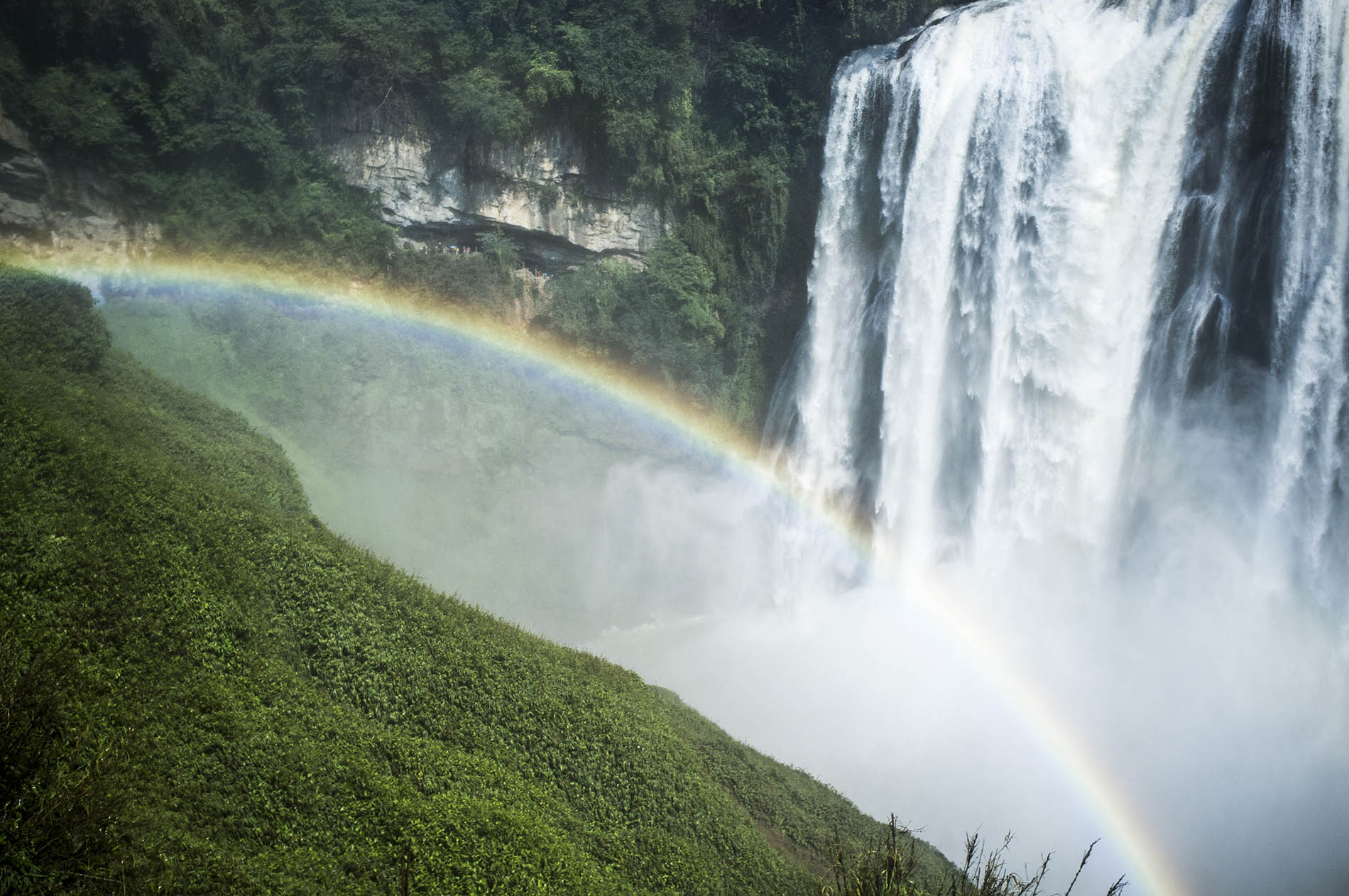 "Rainbow over the ""wild"" waterfall."