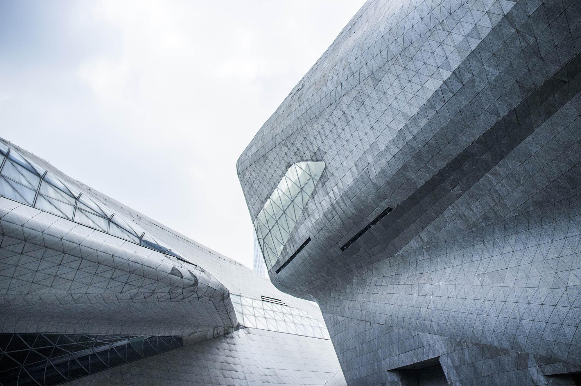 Guangzhou opera house was designed by Zaha Hadid Architects.