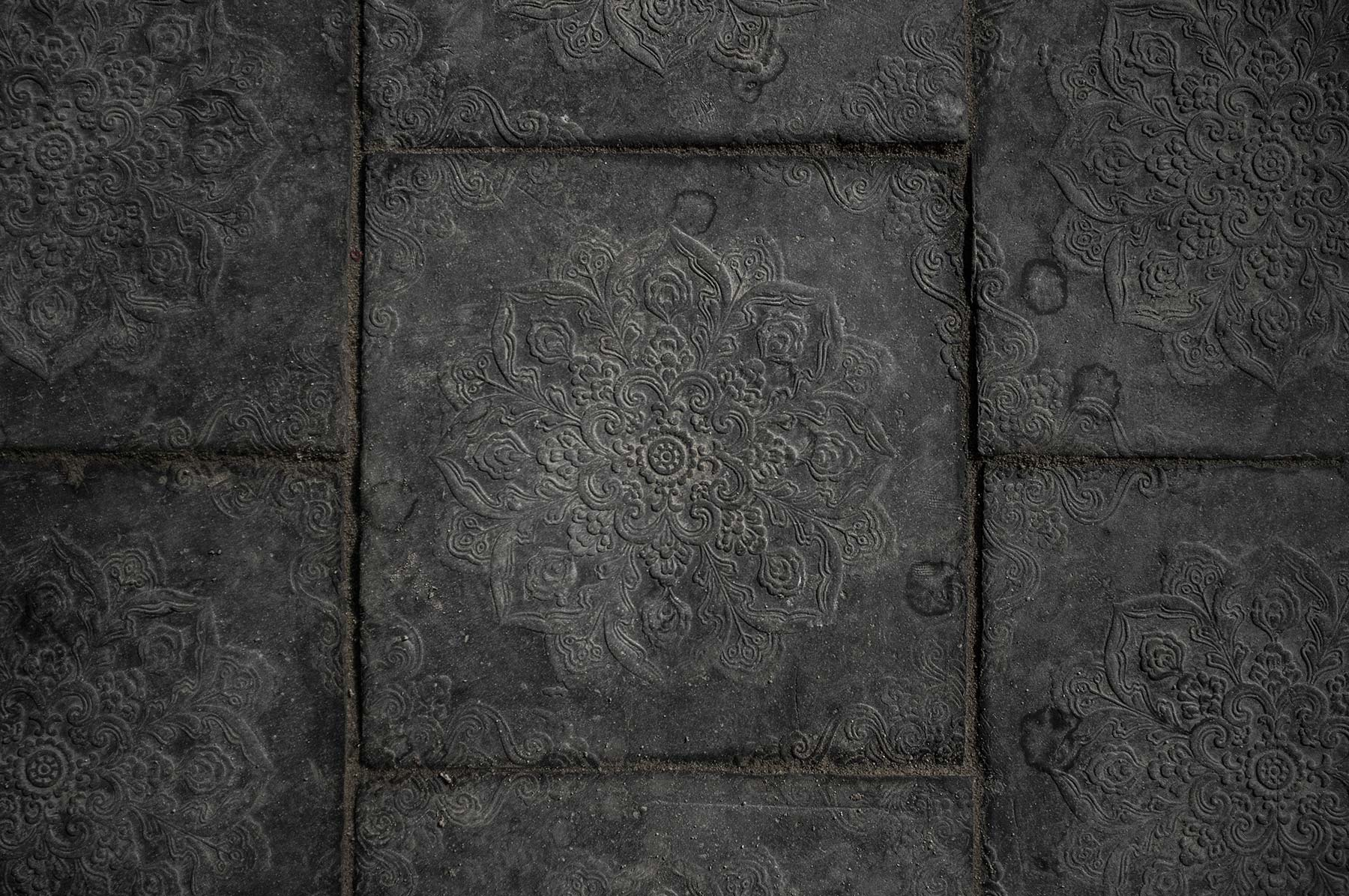 Floor tiles at the entrance of the temple.
