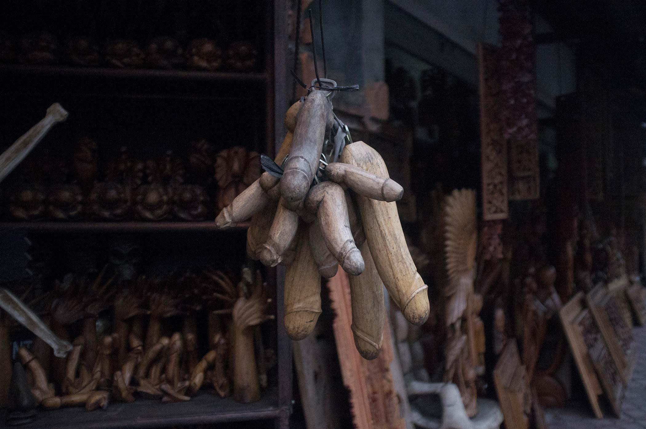 Balinese are great wood carvers. Wood carved dildo beer-openers.